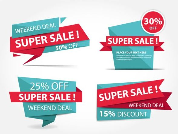 Red with blue origami sale labels vector