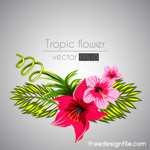Red with pink tropical flowers vector 02