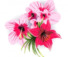 Red with pink tropical flowers vector 03