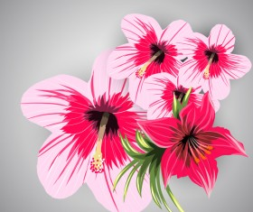 Red with pink tropical flowers vector 06