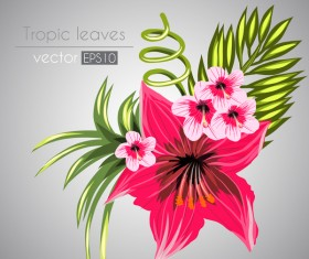 Red with pink tropical flowers vector 07