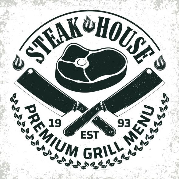 Retro barbecue labels with grunge background vector 01