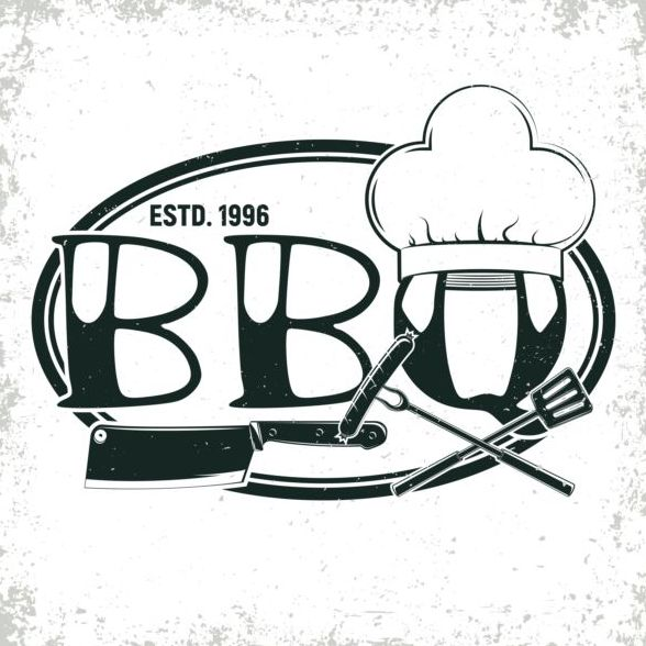 Retro barbecue labels with grunge background vector 03