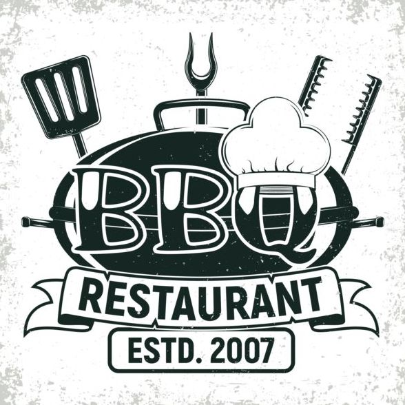 Retro barbecue labels with grunge background vector 04