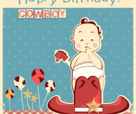 Retro birthday card with cowboy little nice baby vector