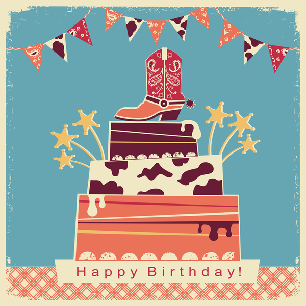 Retro happy birthday card with cake vector material