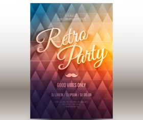 Retro party flyer template vector 01