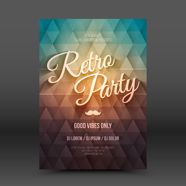 Retro party flyer template vector 02