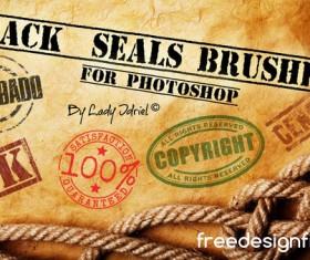Retro seals photoshop brushes