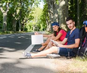Roadside rest travelers Stock Photo
