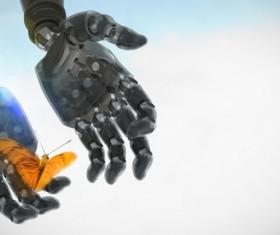 Robot hands with butterflies Stock Photo 03