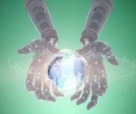 Robot hands with virtual sphere Stock Photo
