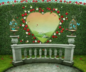 Roses and heart-shaped cage wall Stock Photo