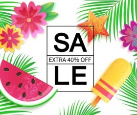 Sales discount with summer background vector