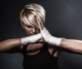 Salute female boxer Stock Photo