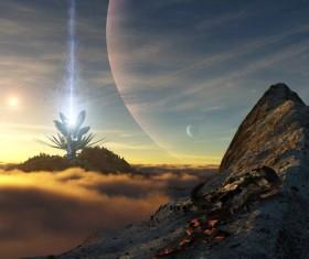 Science fiction universe sky Stock Photo