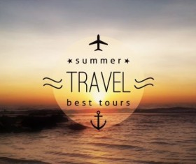 Sea with summer travel background vector 01