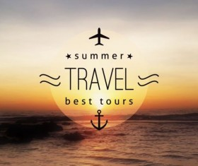 Sea with summer travel background vector 02