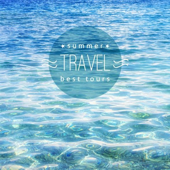 Sea with summer travel background vector 03