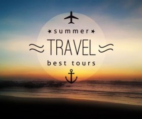 Sea with summer travel background vector 05