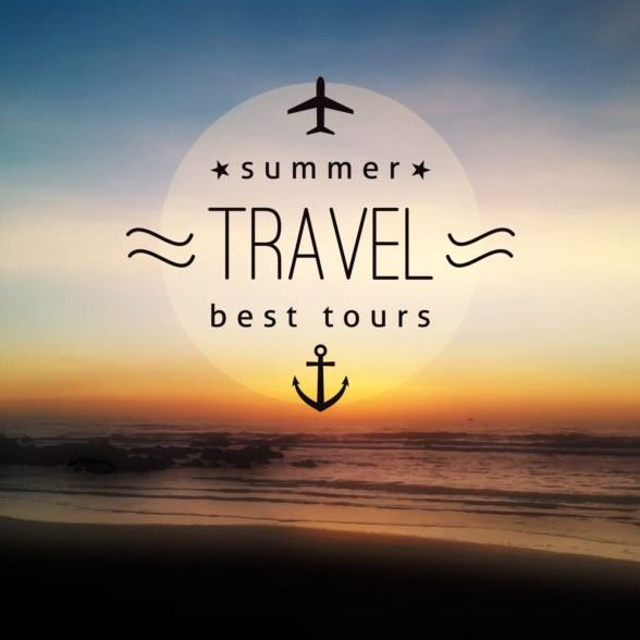Sea with summer travel background vector 06