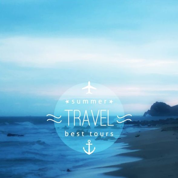 Sea with summer travel background vector 07
