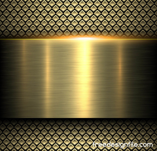 Shiny gold metal background with seamless pattern vector