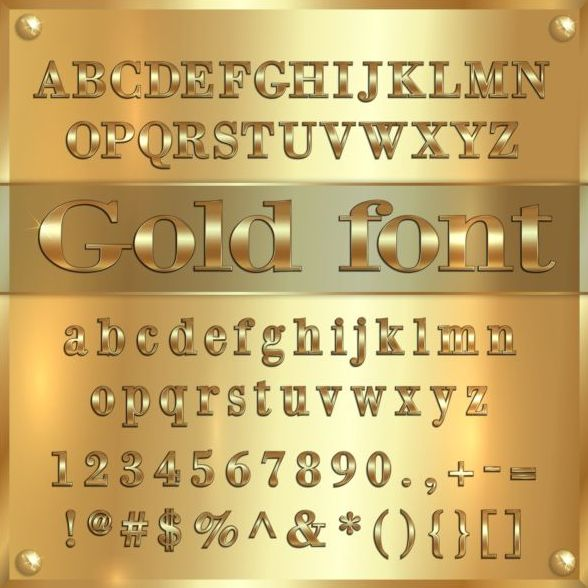 Shiny golden font alphabet with number vector 01