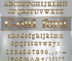 Shiny golden font alphabet with number vector 02