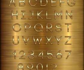 Shiny golden font alphabet with number vector 03
