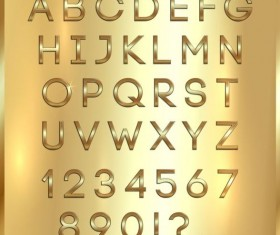Shiny golden font alphabet with number vector 04