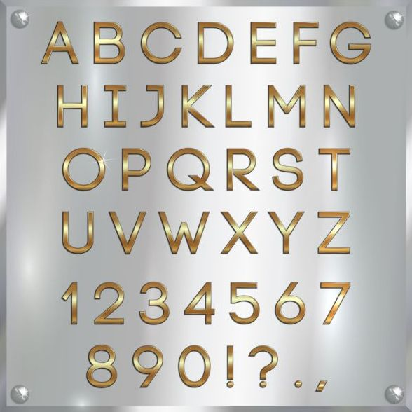 Shiny golden font alphabet with number vector 05