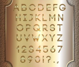 Shiny golden font alphabet with number vector 06