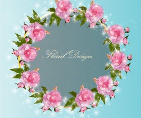 Shiny pink rose wreath vector 01