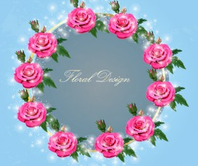 Shiny pink rose wreath vector 02