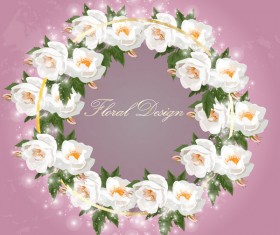 Shiny white rose wreath vector