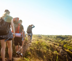 Sightseeing tour of backpackers Stock Photo