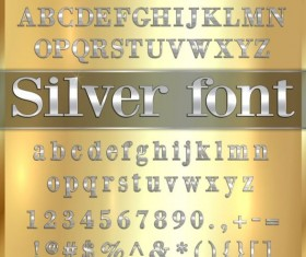Silver font alphabet with number vector 01