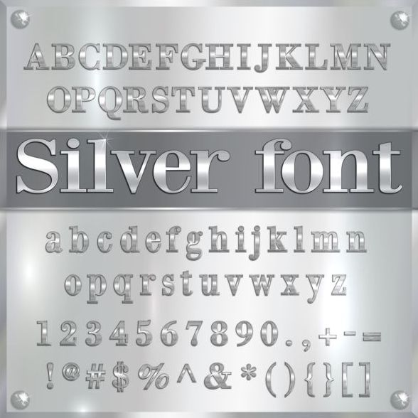 Silver font alphabet with number vector 02