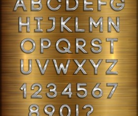 Silver font alphabet with number vector 03