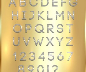 Silver font alphabet with number vector 04