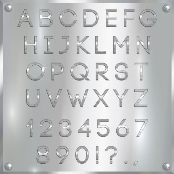 Silver font alphabet with number vector 05