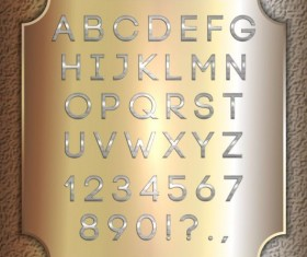 Silver font alphabet with number vector 06
