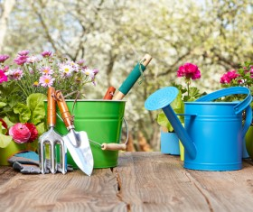 Small shovel and sprinkler on the table HD picture