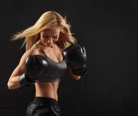 Smiling female boxer Stock Photo