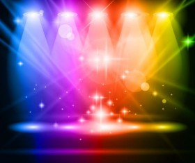 Spotlights and glowing colorful vector 02