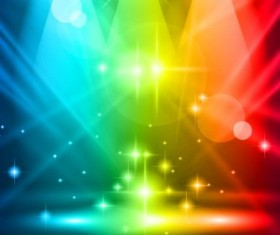 Spotlights and glowing colorful vector 03