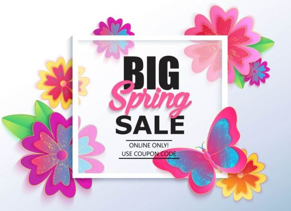 Spring big sale vector background 01