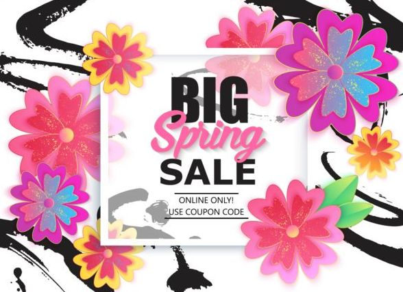Spring big sale vector background 02