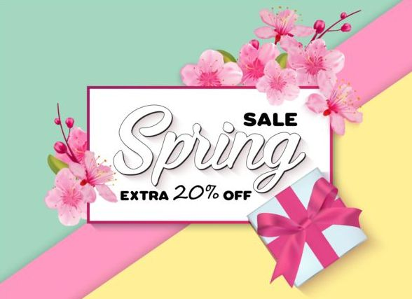 Spring big sale vector background 03